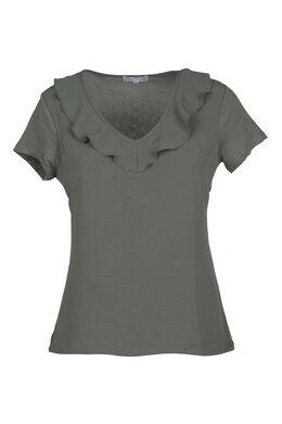 T-shirt met gekruiste volants, Kaki