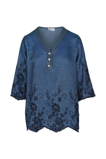Tuniek in tencel met denimlook - Denim