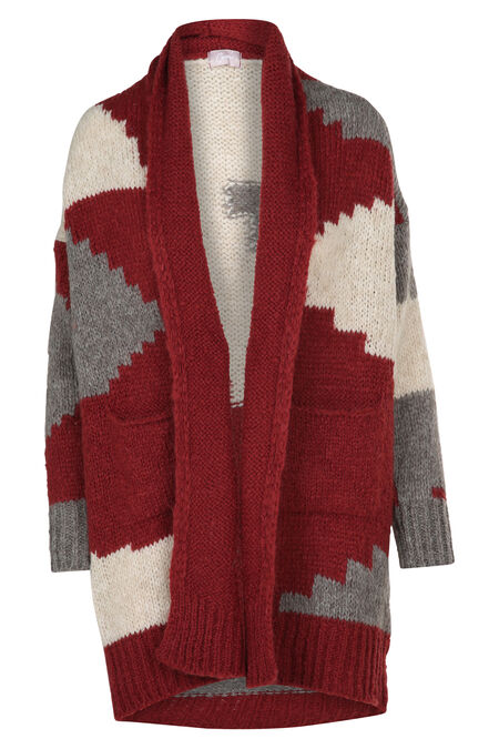 Cardigan in Azteekse stijl - Bordeaux
