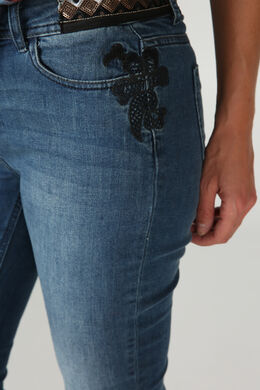 Jeans met borduurwerk en lovertjes, Donker denim