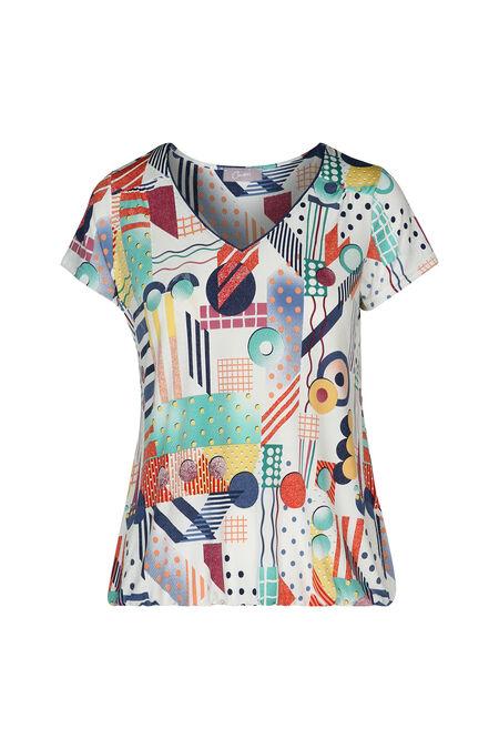 T-shirt maille froide imprimé géométrique - multicolor
