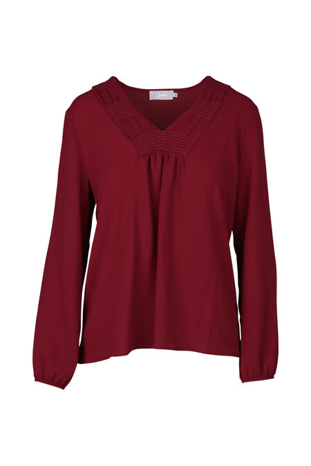 Blouse unie encolure en smocks - Bordeaux
