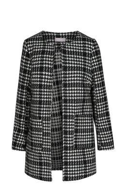Bedrukt jasje met wol in, Zwart/Ecru