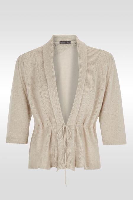 Gilet in kimonostijl met lint - Taupe