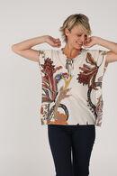 T-shirt met cape-effect en print, Mosterdgeel