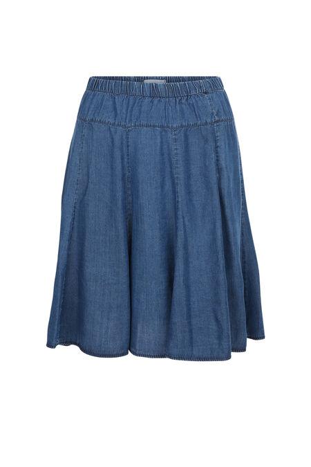 Uitlopende rok van lyocell - Blauw