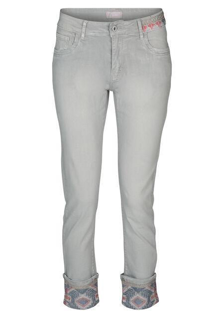 Pantalon 7/8e brodé - Gris-moyen