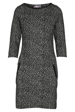 Jurk in warm tricot met print, Zwart/Ecru