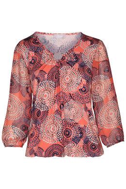 T-shirt manches 3/4 imprimé mandala, Corail