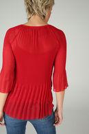 Tunique en voile plissée imprimée, Rouge