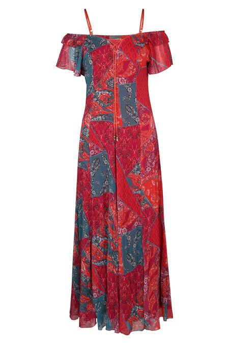 Lange jurk met rijglinten aan de hals - Rood