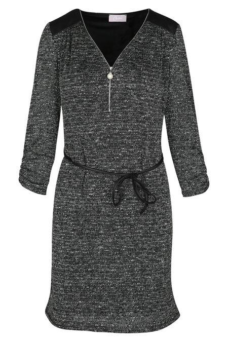 Robe en maille lurex - Noir/Ecru