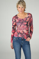 T-shirt imprimé feuilles et strass, Rouge
