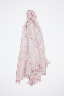 Étole avec fil brillant métallique, Vieux rose