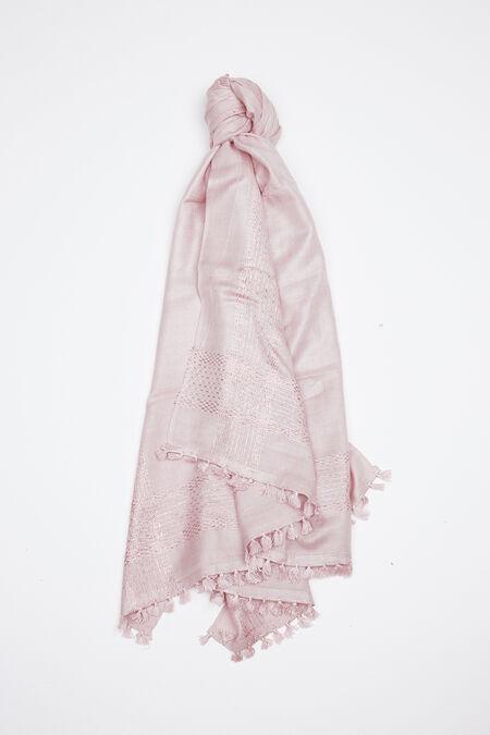 Étole avec fil brillant métallique - Vieux rose