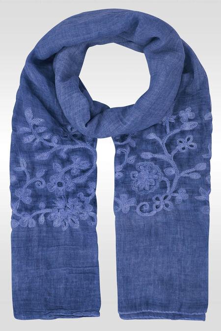 Effen foulard met borduurwerk - Indigo