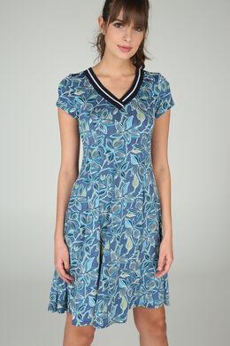 Jurk in bedrukt tricot, Appelblauwzeegroen