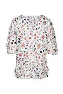 T-shirt, mouwen met tunnel, bloemenprint, Ecru