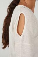 T-shirt met 3/4-mouwen in lurextricot, Ecru