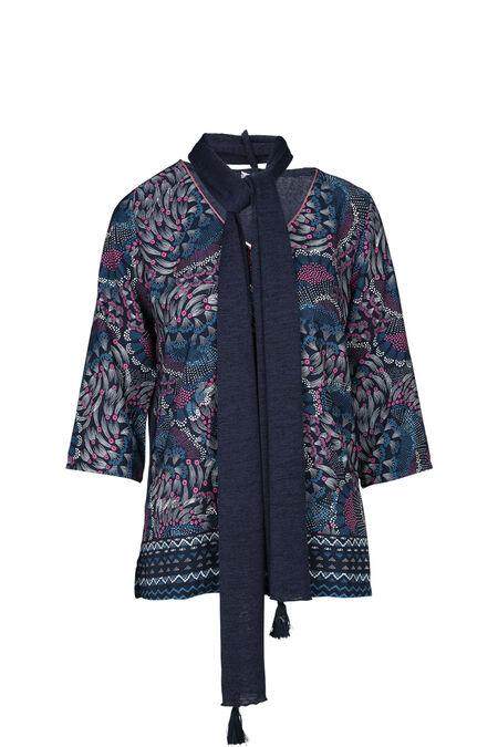 Bedrukte trui met 3/4-mouwen. - Marineblauw