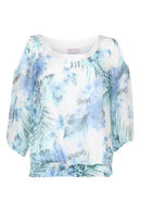 Bloes met blote schouders en print, Appelblauwzeegroen