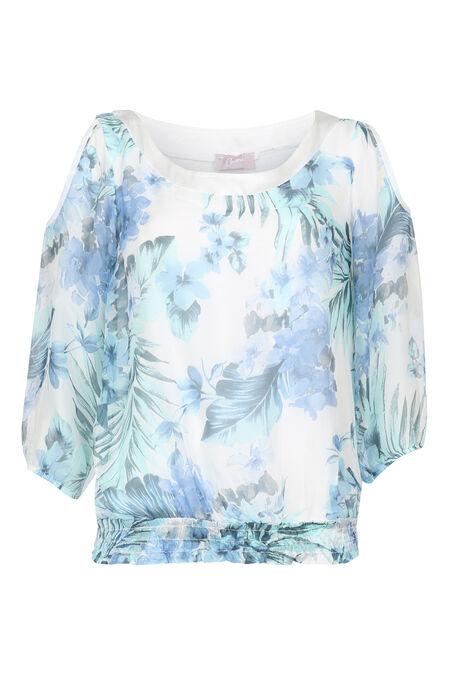 Bloes met blote schouders en print - Appelblauwzeegroen