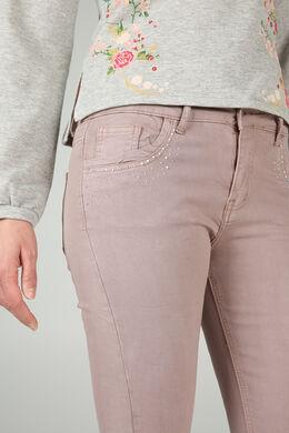 Pantalon slim avec strass, Nude