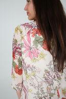 Blouse imprimé fleurs romantiques dotée d'un collier bijoux, multicolor
