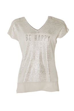 T-shirt 'Be Happy', Taupe