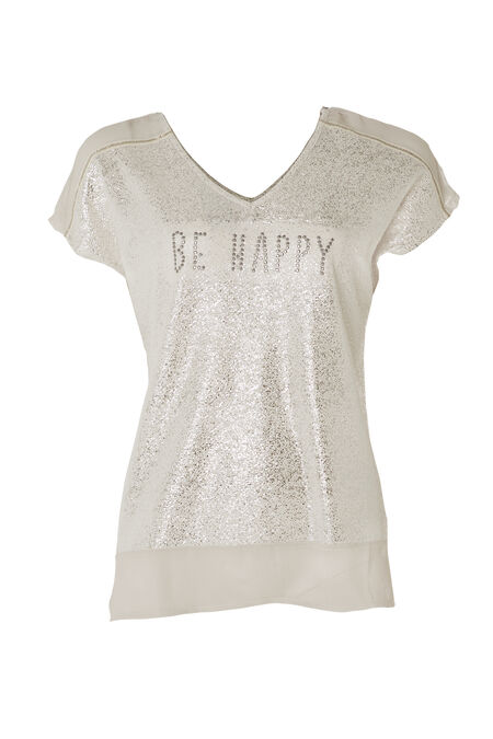 "T-shirt ""Be Happy"" - Grege"