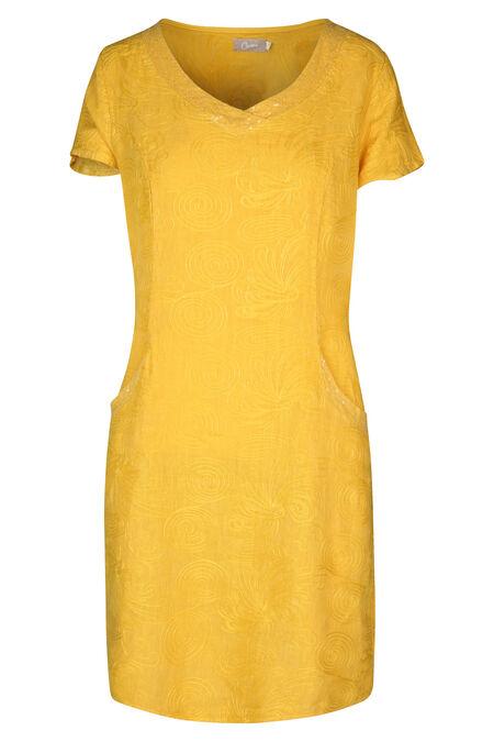 Linnen jurk met borduurwerk en lovertjes - Oker