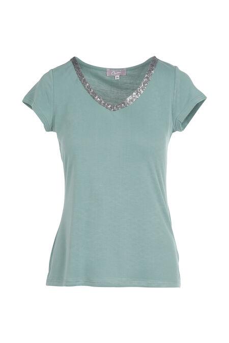 T-shirt uni avec encolure en V orné de sequins - aqua