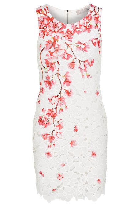 Robe macramé et imprimé fleurs de cerisier - Rose