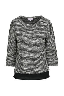 Gestreepte sweater in twee stoffen, Zwart/Ecru