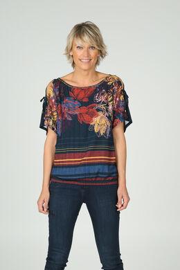 T-shirt met open schouders en print, Marineblauw