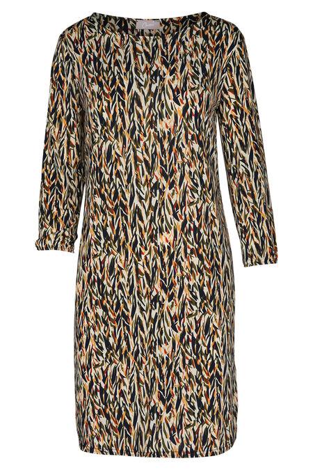 Bedrukte jurk in soepel tricot - Oker
