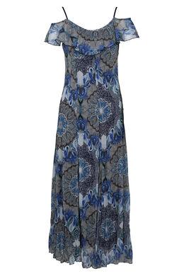 Lange jurk in voile met print, Blauw