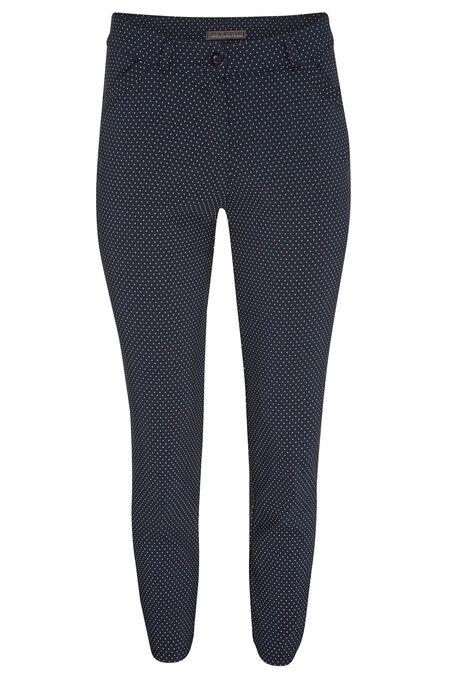 Pantalon met bolletjesprint - Marineblauw