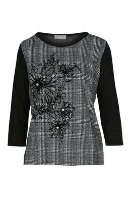 T-shirt in twee stoffen bloemen en stras, Zwart