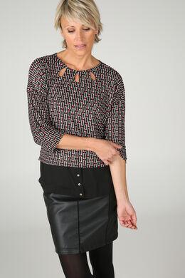 T-shirt met T-mouwen, Zwart