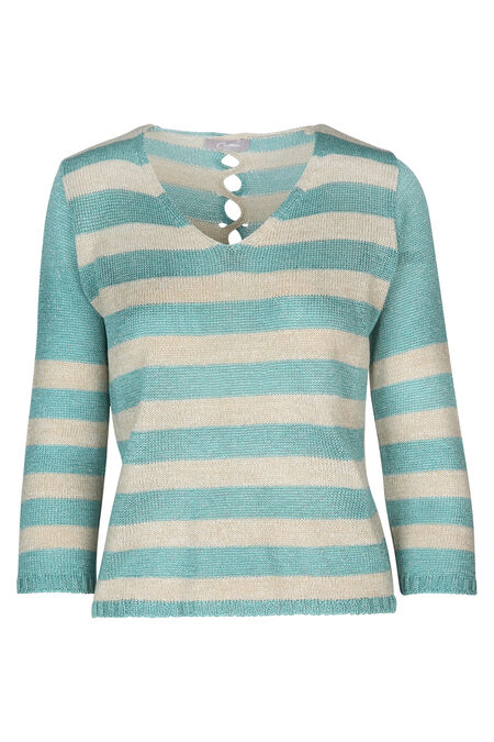 Pull à rayures - Turquoise