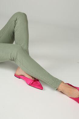 Smalle broek met strassteentjes., Kaki
