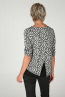 T-shirt in bedrukt, warm tricot, Zwart/Ecru