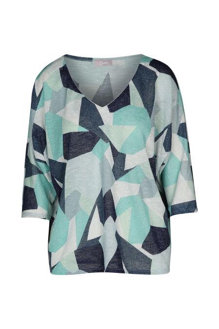 T-shirt lurex imprimé géométrique - aqua