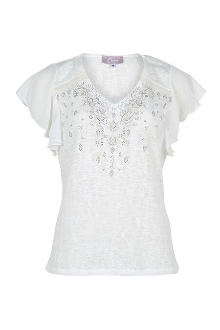 T-shirt met strassteentjes en studs - Ecru