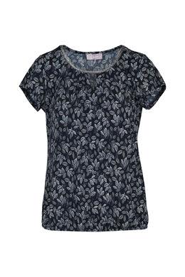 T-shirt in bedrukt tricot, Marineblauw
