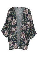 Kimono met etnische print, Aubergine
