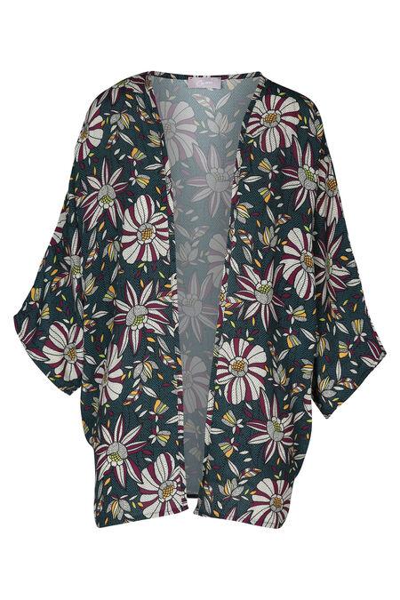 Kimono met etnische print - Aubergine