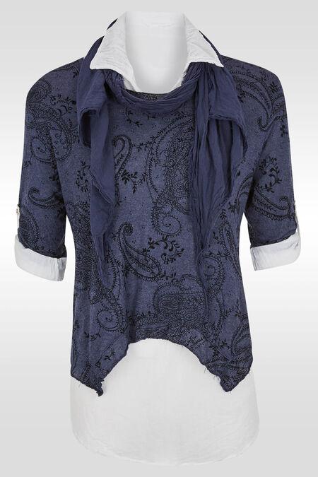 2-in-1 trui met arabeskdessin - Marineblauw