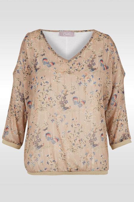 Romantische bloes met open schouders - Beige